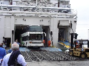 The bus leaves the ferry